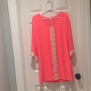 Sage neon pink midi dress SZ small
